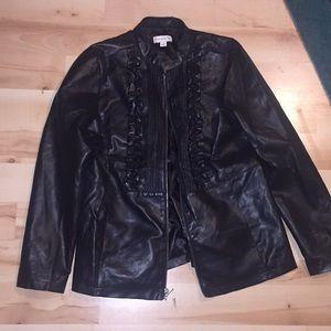 Black detailed leather jacket